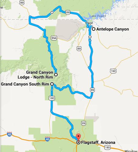 Giorno 8 grand canyon north rim antelope canyon for Grand canyon north rim mappa della cabina